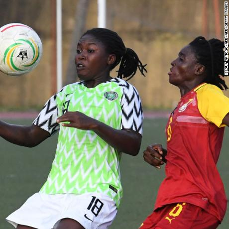 Nigeria's Rafiat Sule (L) vies for the ball with Ghana's Abdulai Mukarama during the West African Football Union (WAFU) women semi-final football match between Ghana and Nigeria at the Robert Champroux stadium in Abidjan on May 16, 2019. (Photo by ISSOUF SANOGO / AFP)        (Photo credit should read ISSOUF SANOGO/AFP/Getty Images)