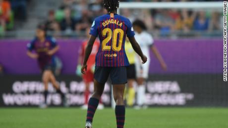 Oshoala scored Barcelona's only goal as the Catalans were defeated by Lyon in the Women's Champions League final.