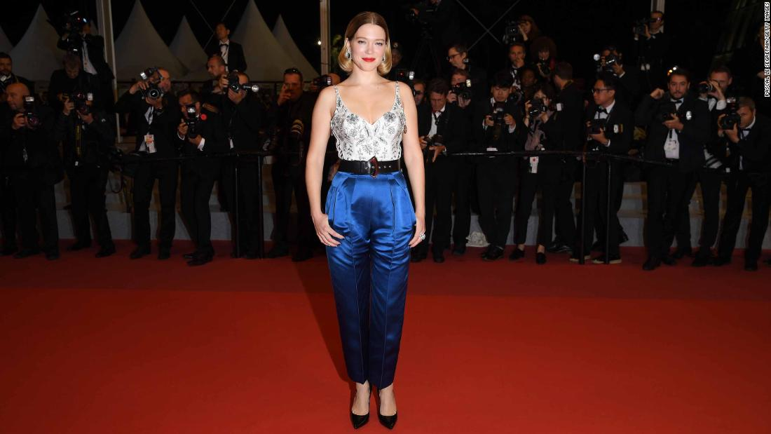 Rather than wearing a gown, Lea Seydoux wore custom Louis Vuitton trousers and and an embellished bodysuit.