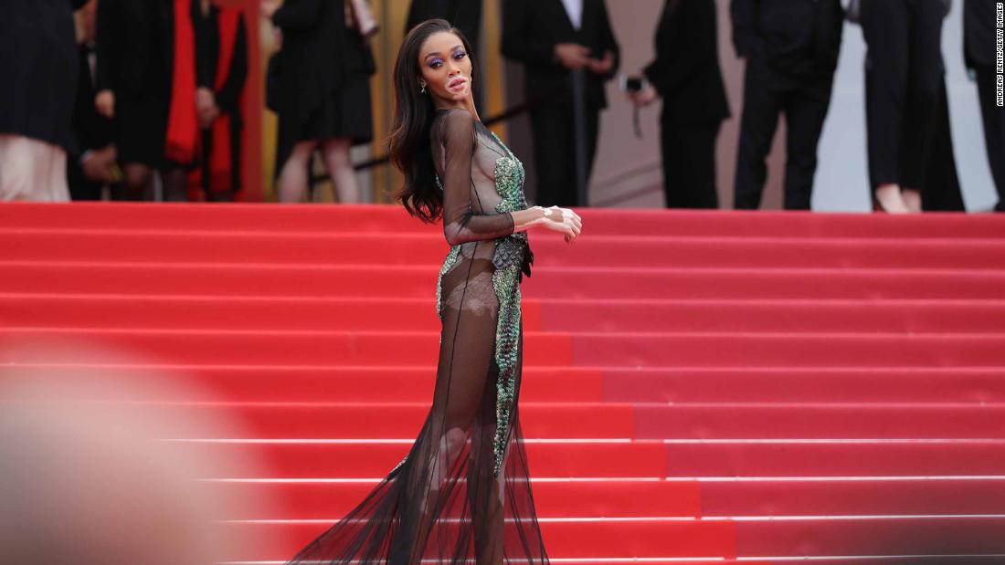 "Winnie Harlow wears a Ralph & Russo to the premiere of ""Oh Mercy! (Roubaix, Une Lumiere)."""