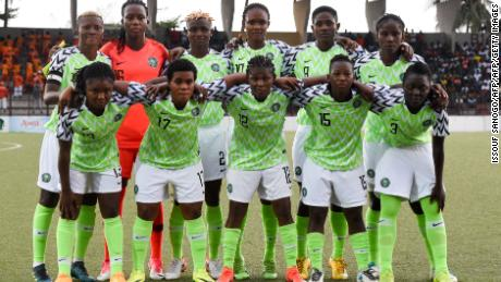 The Super Falcons pose before the WAFU final with the Ivory Coast.