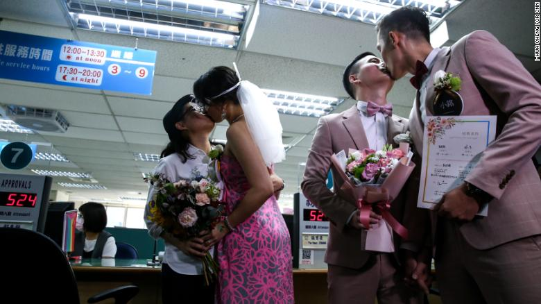 Just days after Taiwan's legislature passed a bill legalizing same-sex marriage for the first time in Asia, couples register their marital status and receive new identification cards, Friday.