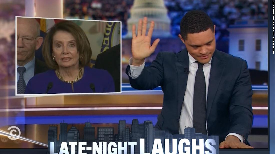 Late-night comics make light of Trump-Pelosi drama