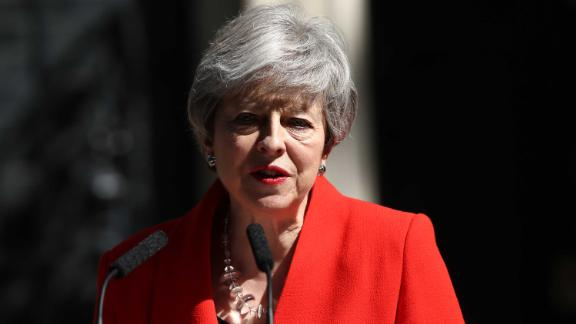 Prime Minister Theresa May makes a statement outside at 10 Downing Street in London, where she announced she is standing down as Tory party leader on Friday June 7. (Photo by Yui Mok/PA Images via Getty Images)