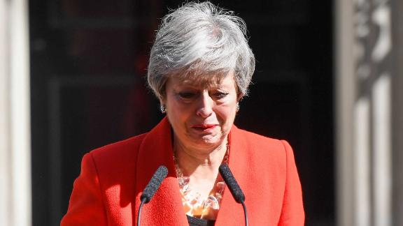 Theresa May, U.K. prime minister, delivers a speech announcing her resignation outside number 10 Downing Street in London, U.K., on Friday, May 24, 2019. Maysaid she will step down on June 7. Photographer: Chris J. Ratcliffe/Bloomberg via Getty Images
