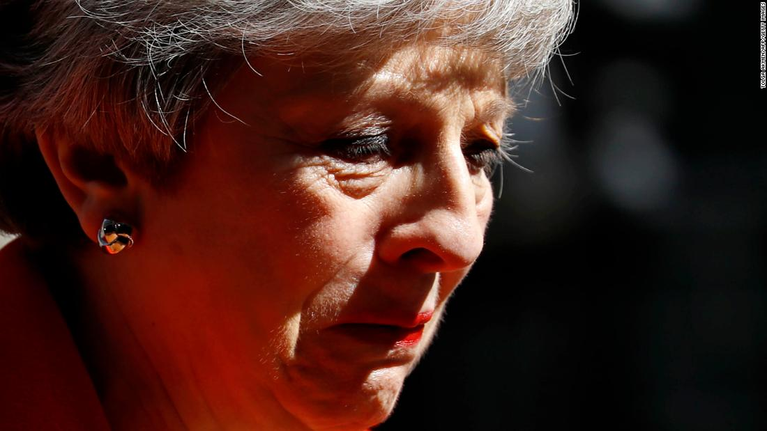 "May announces her resignation in an emotional appearance outside 10 Downing St. on Friday, May 24. May said she would <a href=""https://edition.cnn.com/2019/05/24/europe/theresa-may-resigns-brexit-gbr-intl/index.html"" target=""_blank"">quit as leader of the Conservative Party</a> on June 7 but would stay on as Prime Minister until a successor is chosen."