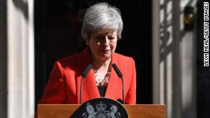 May breaks down during her statement outside 10 Downing Street on Friday.