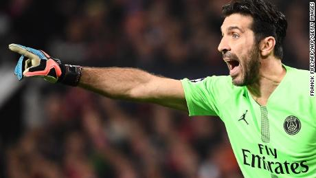 Paris Saint-Germain's Italian goalkeeper Gianluigi Buffon shouts during the first leg of the UEFA Champions League round of 16 football match between Manchester United and Paris Saint-Germain (PSG) at Old Trafford in Manchester, north-west England on February 12, 2019. (Photo by FRANCK FIFE / AFP)        (Photo credit should read FRANCK FIFE/AFP/Getty Images)