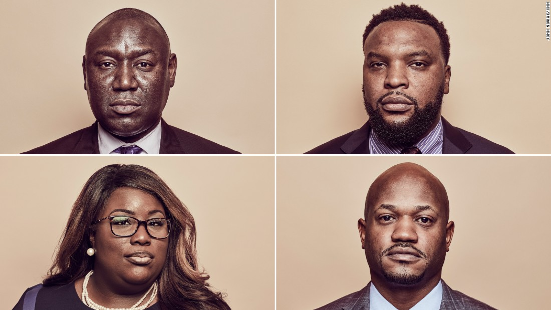 Clockwise from top left: civil rights attorneys Benjamin Crump, S. Lee Merritt, L. Chris Stewart and Michele Rayner-Goolsby.