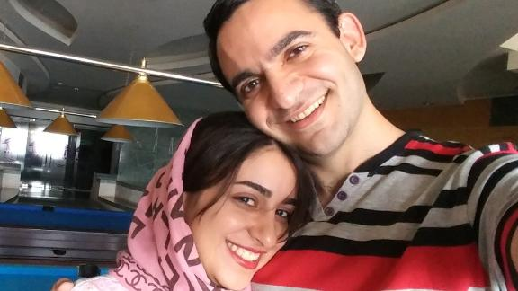 Emad Kazerani and his fiancee, Raziyeh Aghakhanikhanghah, who is seeking a visa but stuck in administrative processing.