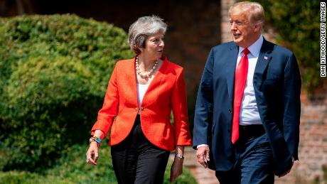 Prime Minister Theresa May and U.S. President Donald Trump hold a joint press conference at Chequers on July 13, 2018 in Aylesbury, England.