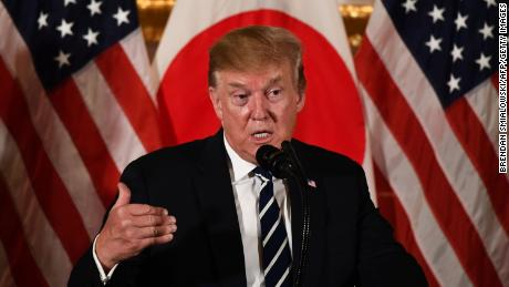 US President Donald Trump speaks during a meeting with business leaders in Tokyo on May 25, 2019. - US President Donald Trump arrived in Japan on May 25 for a four-day trip likely to be dominated by warm words and friendly images, but relatively light on substantive progress over trade. (Photo by Brendan SMIALOWSKI / AFP)        (Photo credit should read BRENDAN SMIALOWSKI/AFP/Getty Images)