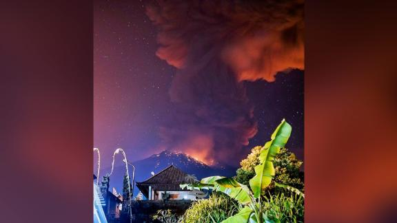 A photo posted on social media shows the volcano ejecting thick smoke and lava.