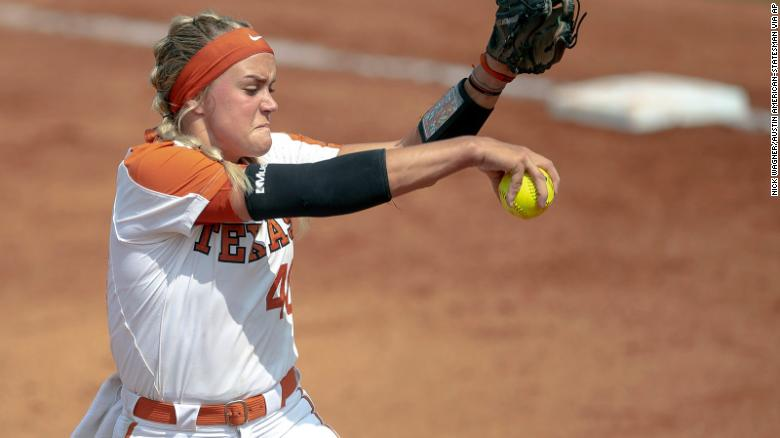 Miranda Elish  A college softball player and Pitcher taken to hospital after teammate's throw hits her in face in Texas-Alabama game