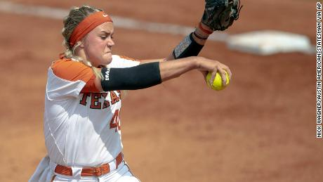 University of Texas pitcher Miranda Elish prepares to throw a pitch against Houston on May 19, 2019, in Austin, Texas.