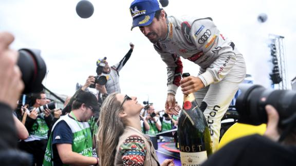 An ecstatic Lucas Di Grassi celebrated in style after dominating the Berlin E-Prix to close the gap at the top of the drivers' championship.