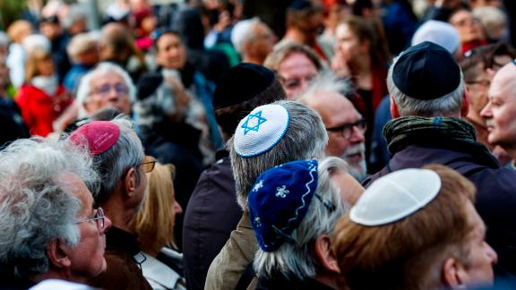 Demonstrators participated in a protest against anti-Semitism in Berlin in April.