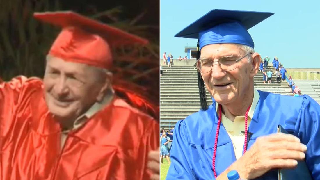 World War II veteran Joe Perricone, left, and Korean War vet Bill William Arnold Craddock both walked in their high school graduation ceremonies on May 25.