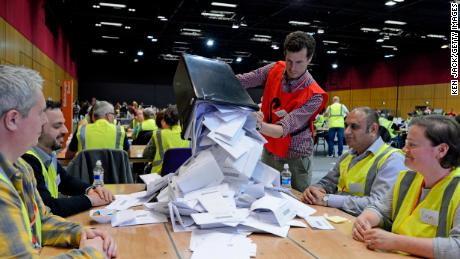 EDINBURGH, SCOTLAND - MAY 26: Counting of votes for the European election gets under way at the Edinburgh International Conference Centre, on May 26, 2019 in Edinburgh, Scotland, United Kingdom. (Photo by Ken Jack/Getty Images)