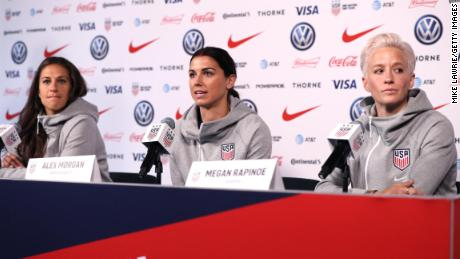 Carli Lloyd, left, Alex Morgan and Megan Rapinoe right, speak at the United States Women's National Team Media Day on May 24, 2019.