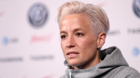 NEW YORK, NEW YORK - MAY 24: Megan Rapinoe of the United States speaks during the United States Women