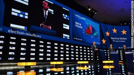 German top candidate of the European People's Party (EPP) for the European elections Manfred Weber is seen beside a projection of the election results during a EPP election-night event for European parliamentary elections in Brussels on May 26, 2019. (Photo by EMMANUEL DUNAND / AFP)EMMANUEL DUNAND/AFP/Getty Images