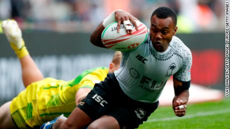 LONDON, ENGLAND - MAY 26: Alasio Naduva of Fiji scores a try during the cup final match between Australia and Fiji during the HSBC London Sevens at Twickenham Stadium on May 26, 2019 in London, United Kingdom. (Photo by Luke Walker/Getty Images)
