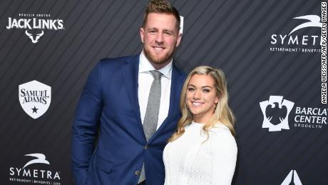 NFL star J.J. Watt and soccer player Kealia Ohai at the 2017 Sports Illustrated Sportsperson of the Year Award Show.