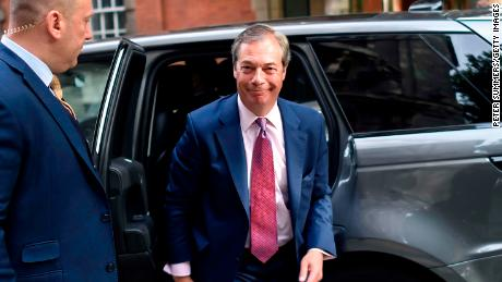 LONDON, ENGLAND - MAY 27: Brexit Party leader Nigel Farage arrives at Millbank Studios on May 27, 2019 in London, England. The Brexit party won 10 of the UK's 11 regions, gaining 28 seats and more than 30% of the vote. (Photo by Peter Summers/Getty Images)