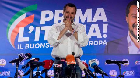 MILAN, ITALY - MAY 27: Italy's Deputy Prime Minister and leader of right-wing Lega (League) political party Matteo Salvini attends a news conference following the European Parliamentary election results at Lega's headquarter on May 27, 2019 in Milan, Italy. (Photo by Emanuele Cremaschi/Getty Images)