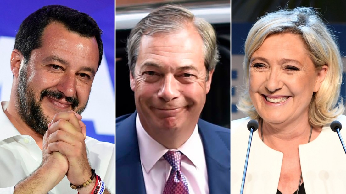 Salvini (L), Farage (center) and Le Pen (R) all won in their respective countries.