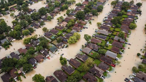 Residential neighborhoods near the Interstate 10 sit in floodwater in the wake of Hurricane Harvey on August 29, 2017, in Houston, Texas.