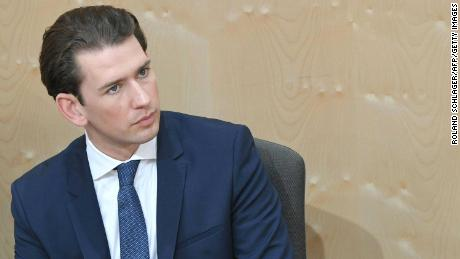 Sebastian Kurz attends a special session of Austrian parliament focusing on a no-confidence vote against him on Monday in Vienna.