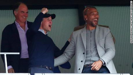 Prince William celebrates after Aston Villa scored.