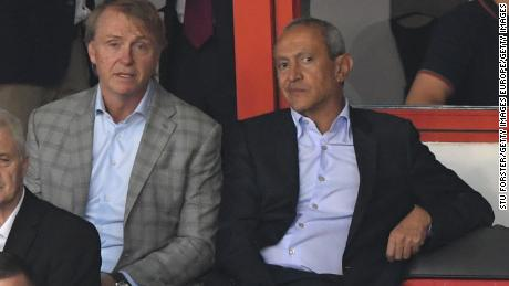 Aston Villa owners Nassef Sawiris (r) and Wes Edens looked on during a friendly match between Aston Villa and West Ham United at Banks' Stadium in July.