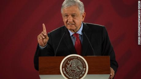 "Mexican President Andres Manuel Lopez Obrador speaks during his daily morning press conference at the National Palace in Mexico City on March 26, 2019. - The 500-year-old wounds of the Spanish conquest have been ripped open afresh with Mexico's president urging Spain and the Vatican to apologise for their ""abuses"" -- a request Madrid said it ""firmly rejects"". A folksy populist, he pulls no punches in going after elites and has sought to cast himself as a champion of indigenous peoples. (Photo by Pedro PARDO / AFP)        (Photo credit should read PEDRO PARDO/AFP/Getty Images)"