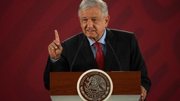 """Mexican President Andres Manuel Lopez Obrador speaks during his daily morning press conference at the National Palace in Mexico City on March 26, 2019. - The 500-year-old wounds of the Spanish conquest have been ripped open afresh with Mexico's president urging Spain and the Vatican to apologise for their """"abuses"""" -- a request Madrid said it """"firmly rejects"""". A folksy populist, he pulls no punches in going after elites and has sought to cast himself as a champion of indigenous peoples. (Photo by Pedro PARDO / AFP)        (Photo credit should read PEDRO PARDO/AFP/Getty Images)"""