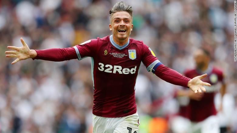 Jack Grealish of Aston Villa celebrates after his team's victory during the Championship playoff final at Wembley Stadium in London on Monday.