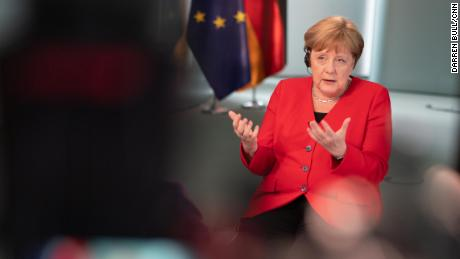 German Chancellor Angela Merkel being interviewed by CNN's Christiane Amanpour on Monday.