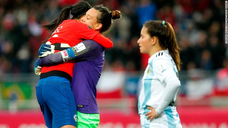 Christiane Endler celebrates Chile's qualification to a maiden Women's World Cup.