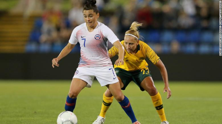 Maria Jose Rojas playing in a friendly against Australia.