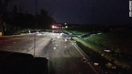 Tornado damage on I-75 intersection in Dayton, Ohio.