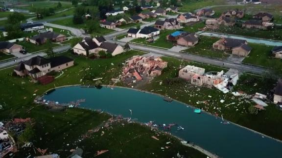 Aerial drone footage show debris scattered for acres in the western Ohio city of Celina.