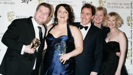 Gavin and Stacey's James Corden (left) and Ruth Jones (second left) pose with other members of the cast.