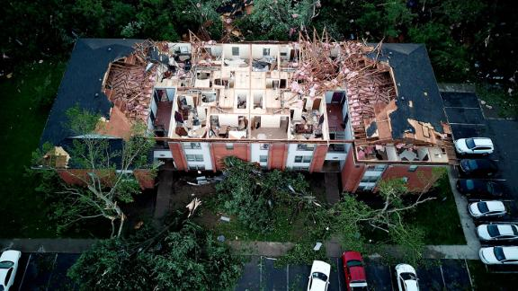 Damage is seen at the Westbrooke Village Apartment complex in Trotwood, Ohio, just outside of Dayton on Tuesday, May 28.