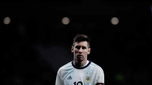 Lionel Messi reacts during the International Friendly match between Argentina and Venezuela at Estadio Wanda Metropolitano on March 22, 2019, in Madrid, Spain.