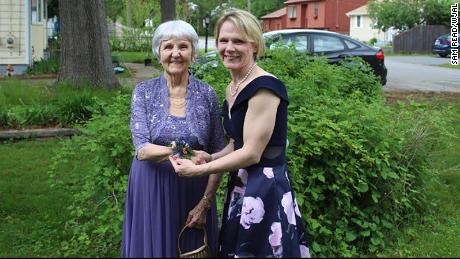 Granddaughter Julie Huddon requested permission from her school to bring her grandmother to prom.