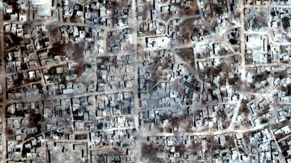 A satelite overview image of Kafr Nabudah that shows damaged and destroyed buildings, Idlib Province, Syria May 26, 2019. Picture taken May 26, 2019.    Satellite image ©2019 Maxar Technologies/Handout via REUTERS   ATTENTION EDITORS - THIS IMAGE HAS BEEN SUPPLIED BY A THIRD PARTY. NO RESALES. NO ARCHIVES. MANDATORY CREDIT.