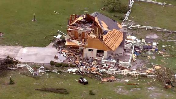Storm damage destroyed a home in Linwood, Kansas.