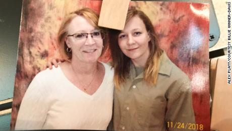 A photograph of Billie Winner-Davis and her daughter Reality during a prison visit, pinned to Winner-Davis' refrigerator.